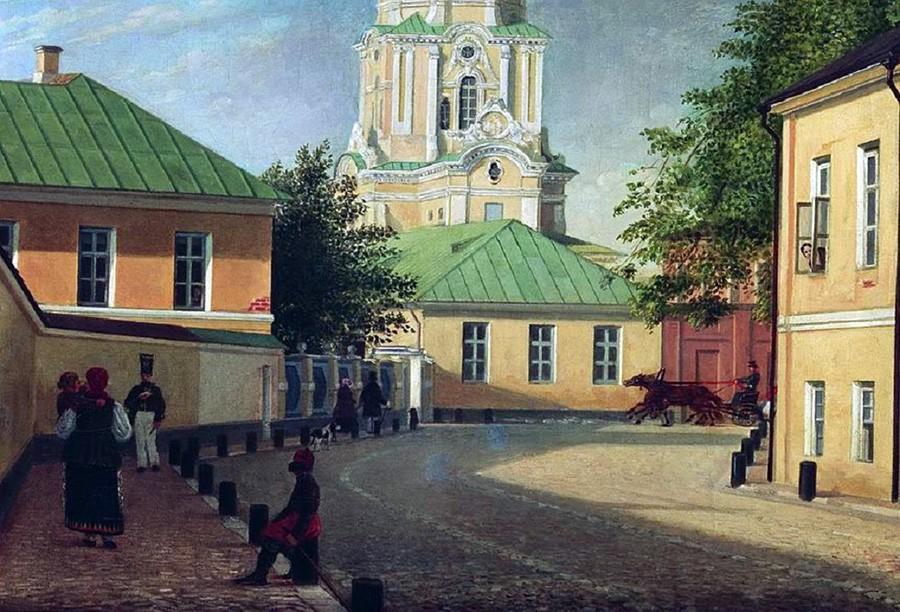 Булыжная мостовая в Кривоколенном переулке на картине Карла Бодри, 1843 г.