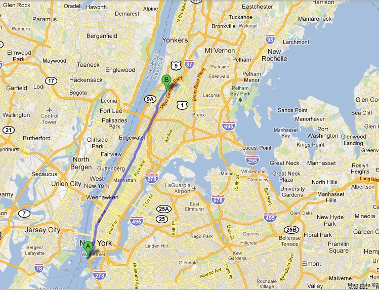 Бродвей на карте Нью-Йорка