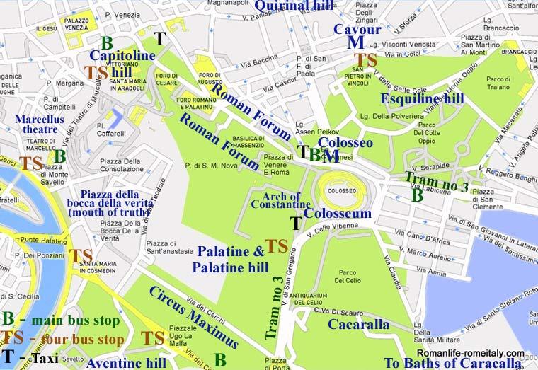 Колизей на карте Рима