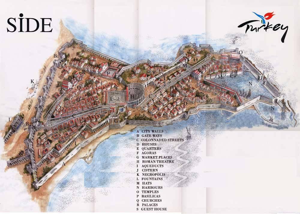 Сиде на карте Турции
