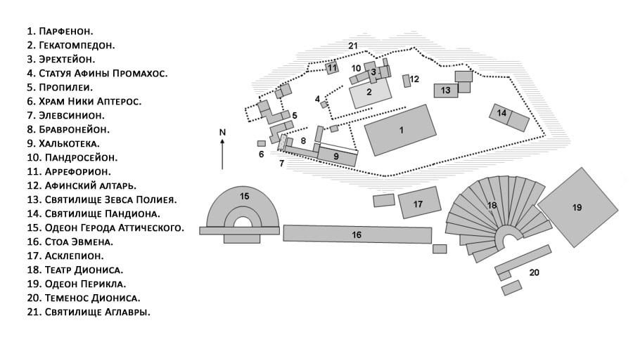 Храм Зевса на карте Афин