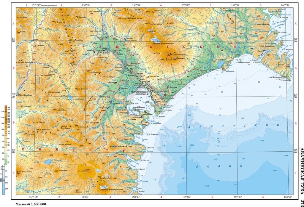 Авачинский залив на карте