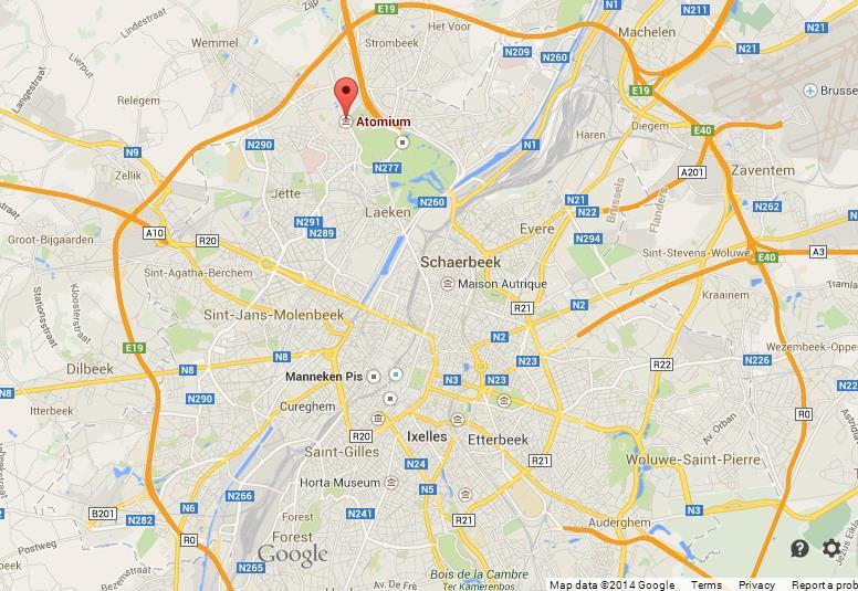Атомиум на карте Брюсселя