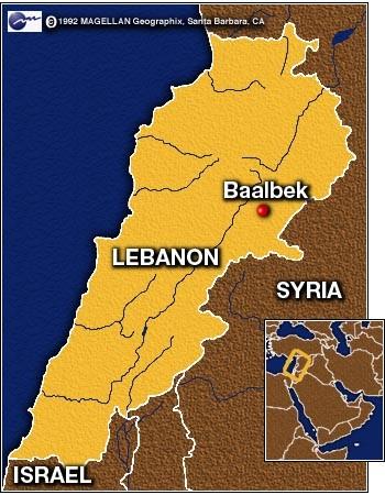 Баальбек в Ливане карта