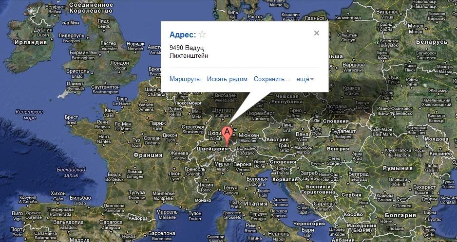 Княжество Лихтенштейн на карте