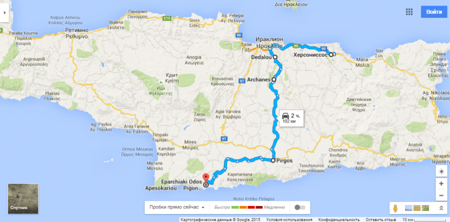 Лабиринт Минотавра Крит на карте
