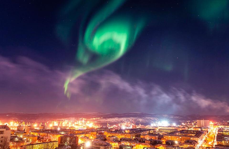 Мурманск Северное сияние