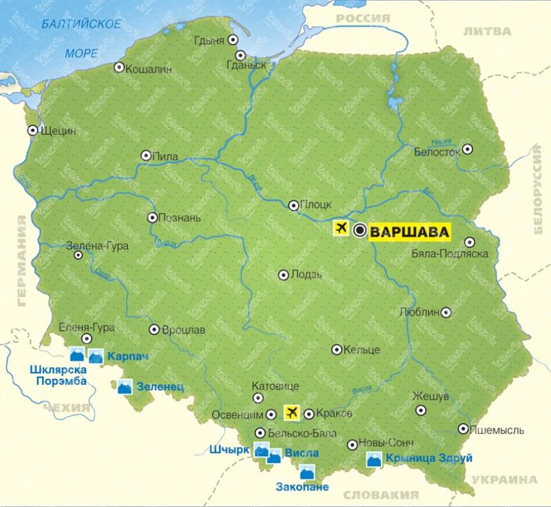 Город Висла в Польше на карте