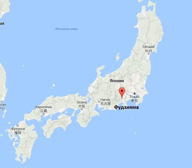 Гора Фудзи на карте Японии