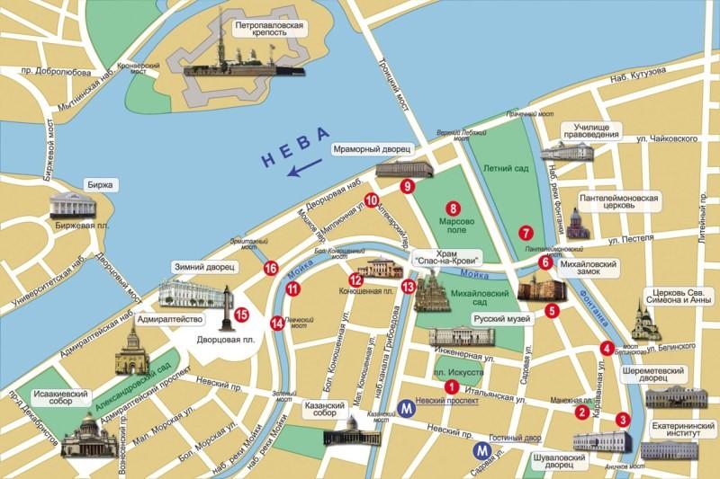 Зимний дворец в Санкт-Петербурге на карте
