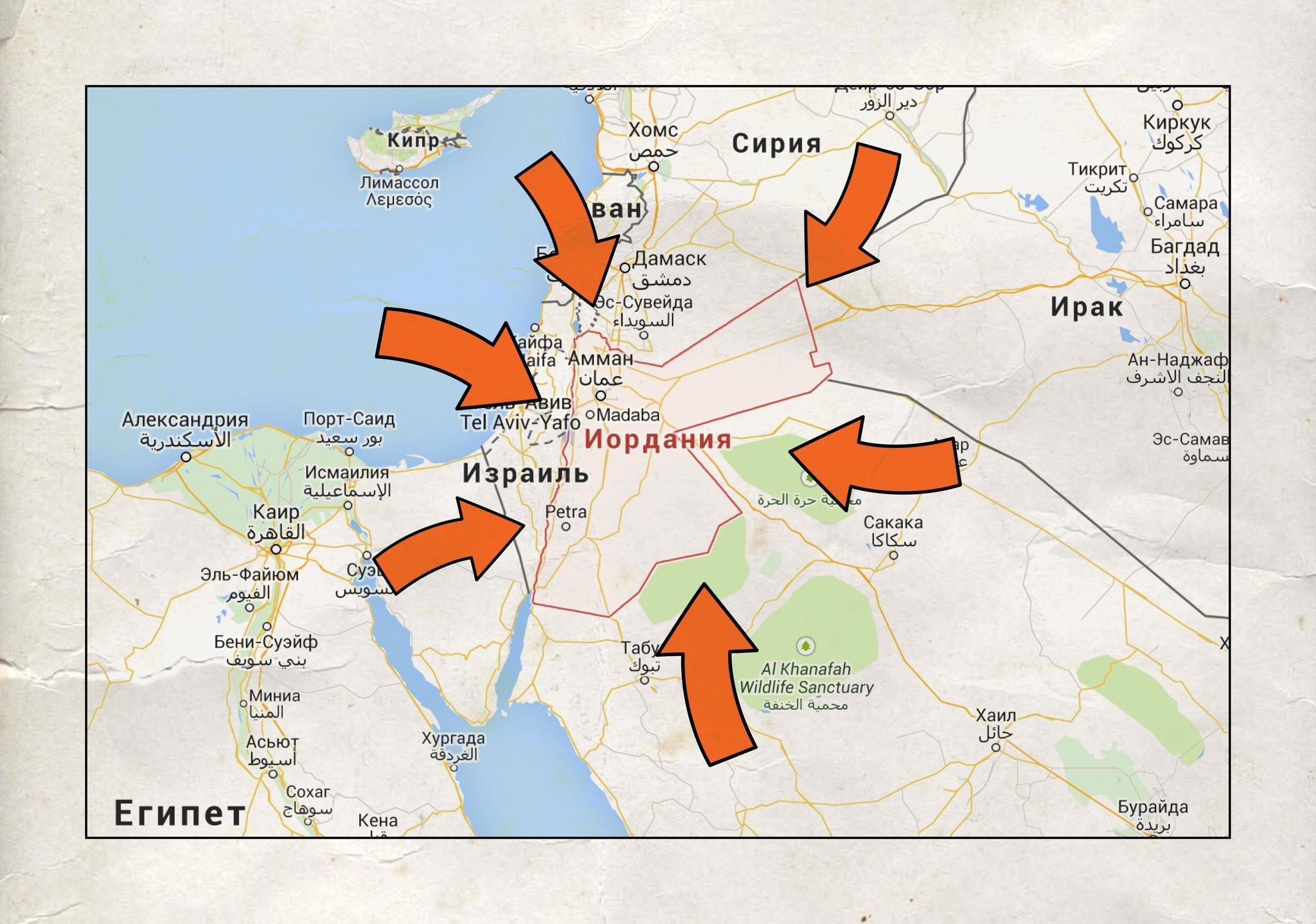 Петра на карте Иордании