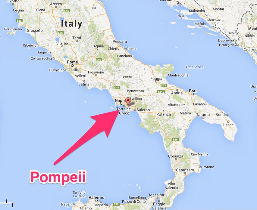 Помпеи на карте Италии
