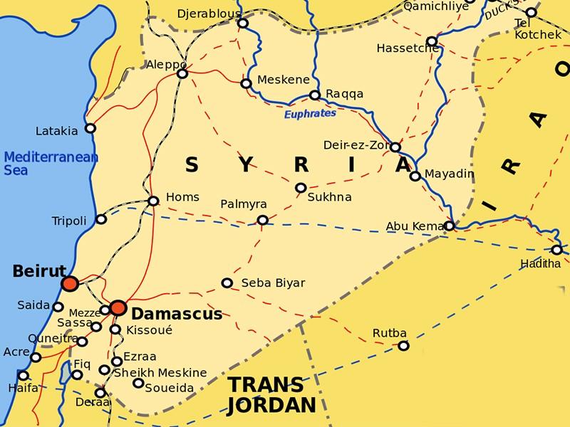 Пальмира на карте Сирии